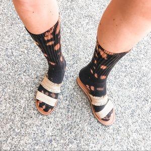 NEW Custom Boho Bleach Tie Dye Tube Socks. Black & Brown. Unisex, 3/$20